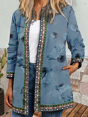 Round Neck Printed Loose Casual Cardigan Jacket