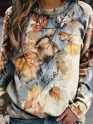 Berrylook coupon: Round Neck Loose Casual Leaf Print Sweatshirt