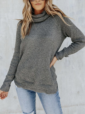 Berrylook coupon: Fashion Solid Color Turtle Neck Sweater Women