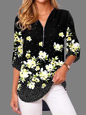 Berrylook coupon: Casual Floral Print Zipper V Neck Long-Sleeved Shirt