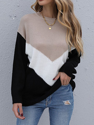 Fall/Winter Color Block Round Neck Long Sleeve Pullover