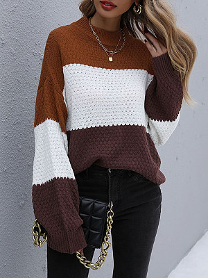 Loose Color-block Knitted Round Neck Pullover