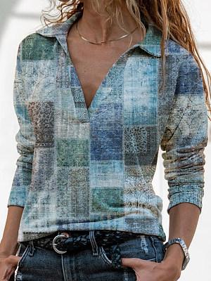 Berrylook coupon: Casual Plaid Print Lapel Long Sleeves T-shirt