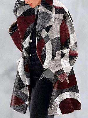 Berrylook coupon: Casual Loose Geometric Print Woolen Coat