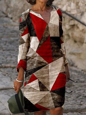 Berrylook coupon: Fashion Colorblock Printed V-neck Long Sleeve Casual Shift Dress