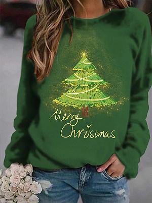 Berrylook coupon: O-Neck Christmas Tree Print Long Sleeve Sweatshirt