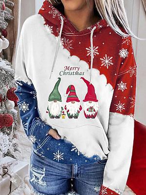 Berrylook coupon: Christmas Print Color Block Long-Sleeved Hooded Sweatshirt
