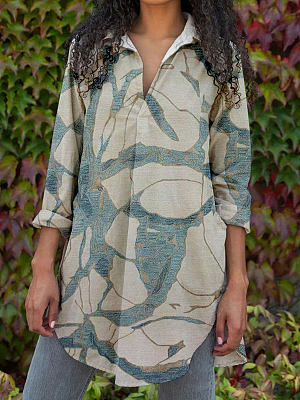 Berrylook coupon: Fashion Printed Lapel Long Sleeve Casual Blouse