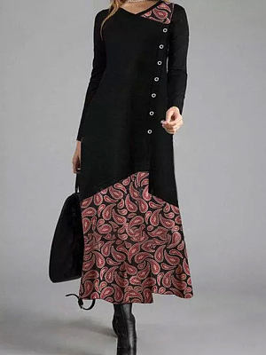 Berrylook coupon: V-neck Print Stitching Loose Casual Long-sleeved Maxi Dress
