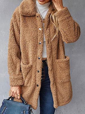 Berrylook coupon: Solid Color Loose Lamb Wool Cardigan Coat
