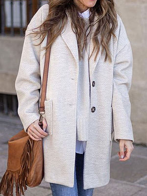 Berrylook coupon: Fashion Solid Color Single-breasted Casual Lapel Long-sleeved Coat