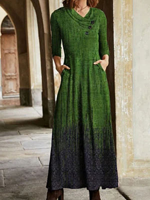Fashion Round Neck Pattern Print Long-sleeved Casual Maxi Dress