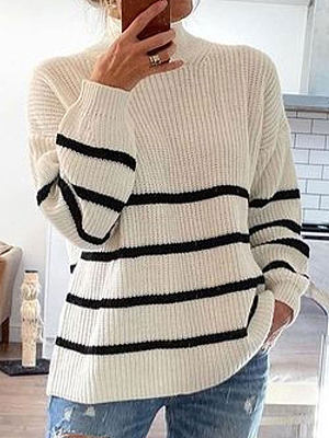 Berrylook coupon: Striped Pattern Long Sleeve Round Neck Long Sleeve Casual Pullover