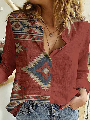 Berrylook coupon: Fashion Ethnic Style Printed Lapel Long-sleeved Casual Blouse