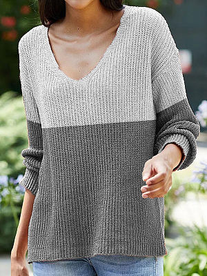 Berrylook coupon: Fashion Color Matching Pattern Long-sleeved V-neck Casual Pullover