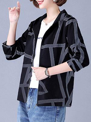 Print Casual Hooded Jacket