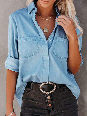 Casual Long-sleeved Solid Color Denim Blouse