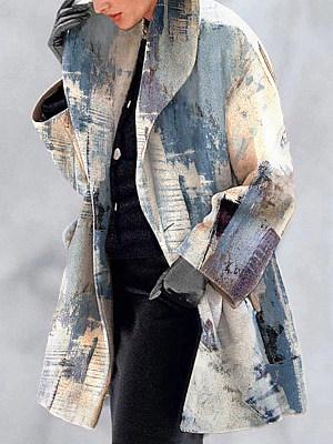 Casual Loose Oil Painting Pattern Printed Woolen Coat