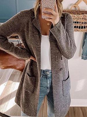 Berrylook coupon: Plain Lapel Long Sleeve Knit Jacket