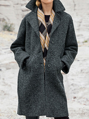 Berrylook coupon: Casual Solid Color Lapel Long Sleeves Coat
