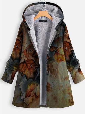 Leaf Print Plus Velvet Warm Coat