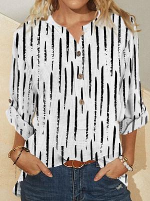 Berrylook coupon: Casual Print Long-Sleeved Loose Blouse