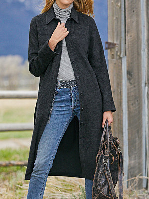Berrylook coupon: Casual Solid Color Lapel Long Sleeves Outerwear