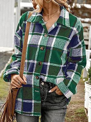 Casual Plaid Print Lapel Long-Sleeved Shirt