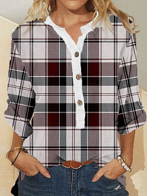 Berrylook coupon: Fashion Plaid Print Stand Collar Long Sleeve Casual Blouse
