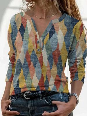 Retro Geometric Print Long Sleeve T-shirt