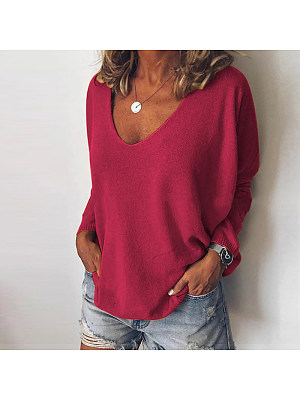Berrylook coupon: Fashion Solid Color V-collar Sweater