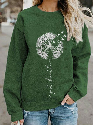 Casual Dandelion Print Crew Neck Long-Sleeved Sweatshirt