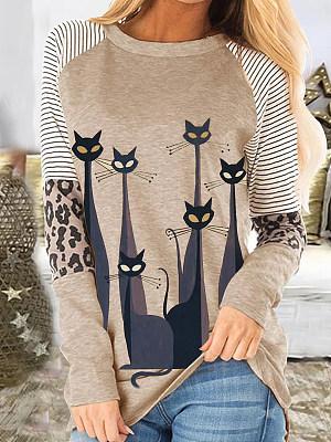 Fun Cat Print Long Sleeve T-shirt