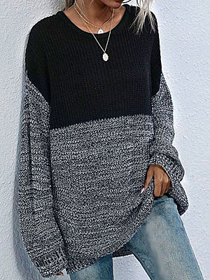 Fashion Color Matching Round Neck Loose Long Sleeve Casual Pullover