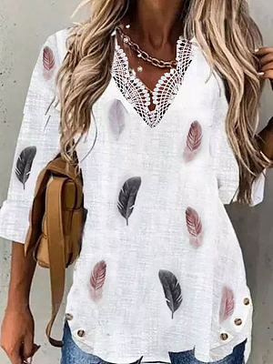 V-neck Feather Print Casual Loose Long-sleeved Blouse