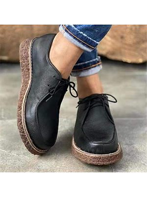 Casual Bullock Thick Soled Ladies Leather Shoes