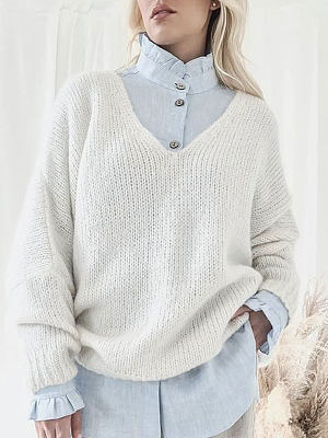 V-neck Solid Color Loose Casual Sweater Pullover