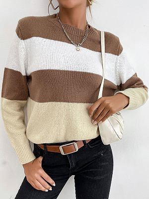 Fashion Striped Color Matching Round Neck Long Sleeve Casual Pullover