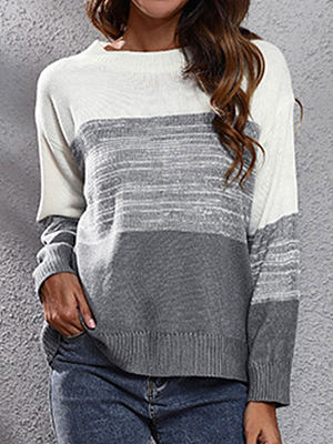 Fashion Gradient Color Matching Loose Round Neck Long Sleeve Pullover