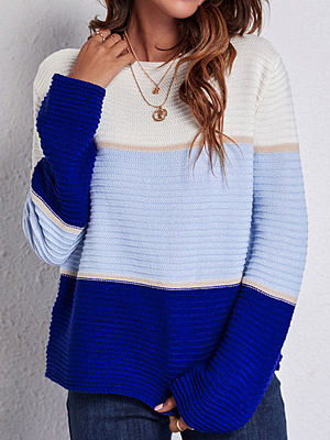 Fashion Contrast Striped Round Neck Long Sleeve Casual Pullover