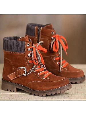 Wool ankle boots round toe lace-up side zip ankle boots