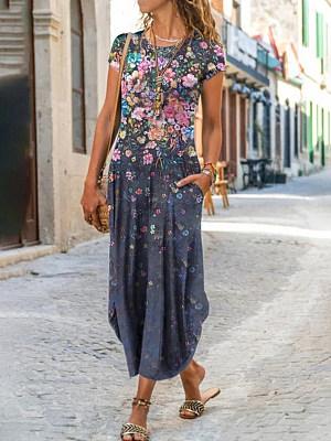 Berrylook coupon: Women's Round Neck Pocket Short Sleeve Printed Dress