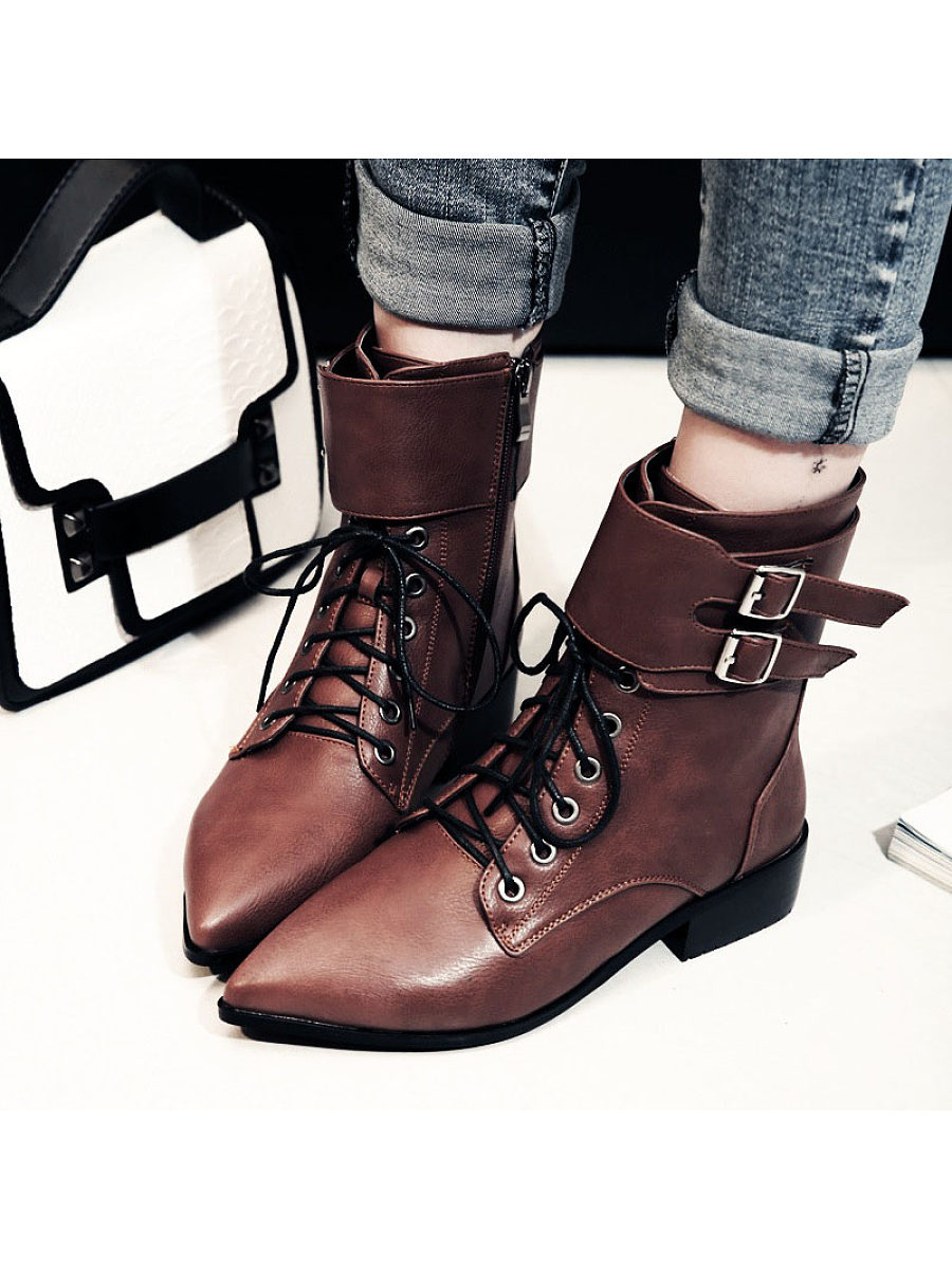 Fashion women's pure color belt buckle lacing martin boots - from $31.95