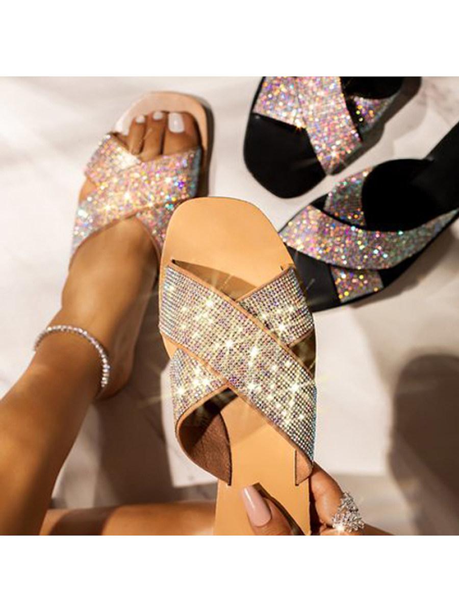 BerryLook Women's flat bottom diamond cross slippers
