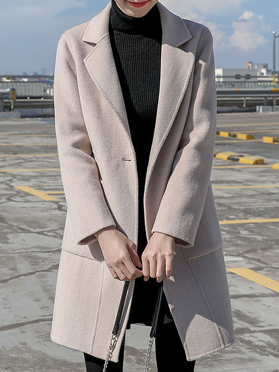 Solid color stitching pocket wool coat - from $32.95
