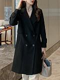 Image of Large lapel woolen solid color coat double-sided woolen coat