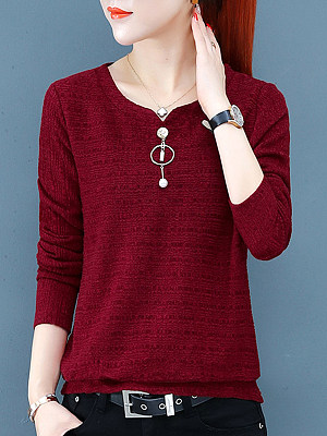Round Neck Plain Long Sleeve T-shirt, 11313932