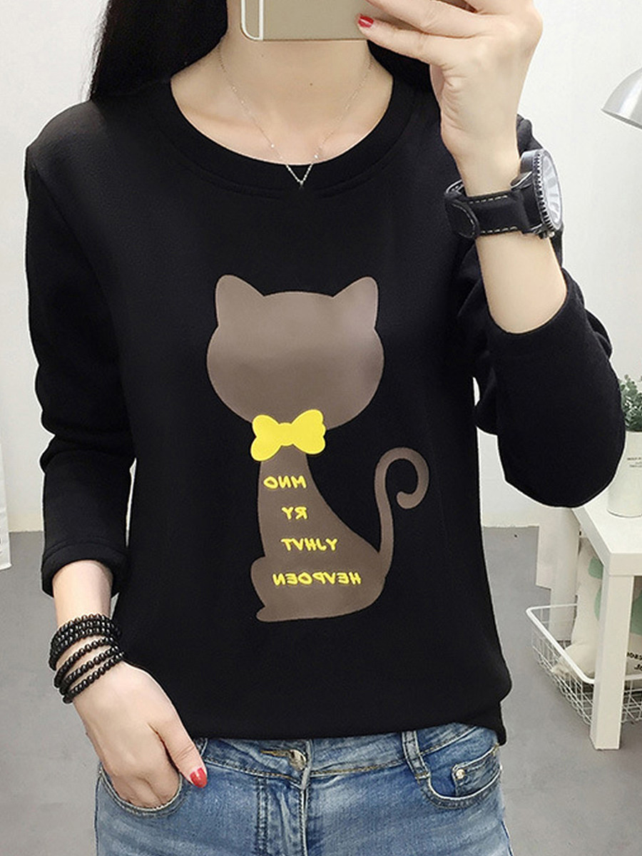 Casual Printed Round Neck Sweatshirt - from $19.95