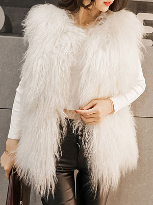 Women's Fashion Pure Color Mid-length Sleeveless Waistcoat gender:female, colour:other, season:autumn,winter, texture:artificial fur, sleeve_length:long sleeve, sleeve_type:regular sleeve, style:japan and south korea, laundry_guide:machine washable, dress_occasion:daily, bust:100,clothing length:71,