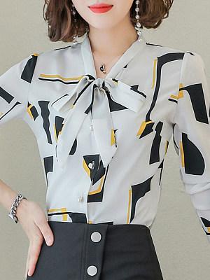V Neck Elegant Printed Long Sleeve Blouse, 10680288
